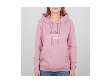 Alpha Industries dámska mikina New Basic Hoody Wmn pink metalsilver