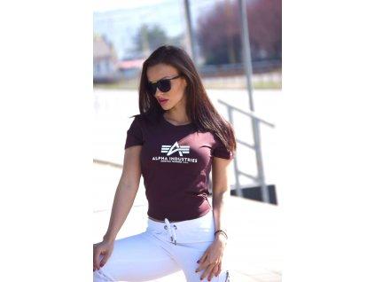 Alpha Industries New Basic T Wmn Deep Maroon dámske tričko7
