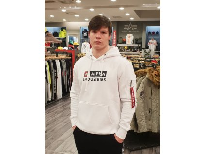 Alpha Industries BLOCK LOGO Hoody white pánska mikina