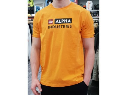 Alpha Industries BLOCK LOGO T tričko pánske alpha orange