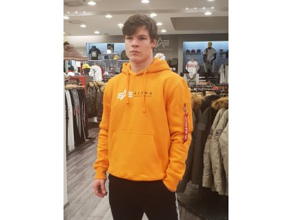 Alpha Industries Label Hoody Foil Print pánska mikina alpha orange