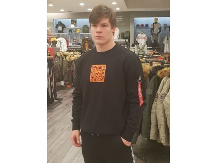 Alpha Industries 3D Logo Sweater II black orange mikina pánska