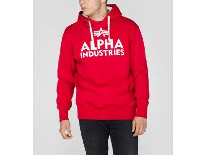 Alpha Industries Foam Print Hoody Speed Red pánska mikina
