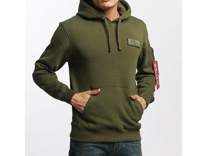 Alpha Industries Red Stripe Hoody pánska mikina dark green7