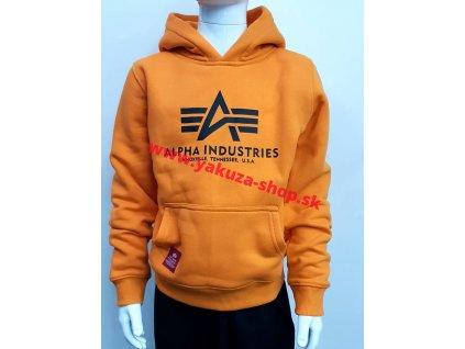 Alpha Industries Basic Hoody Kids detská mikina alpha orange