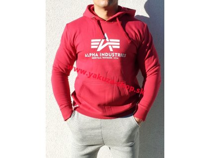 Alpha Industries Basic Hoody pánska mikina rbf red