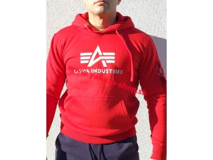 Alpha Industries 3D LOGO Hoody pánska mikina speed red