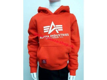 Alpha Industries Basic Hoody Kids detská mikina atomic red