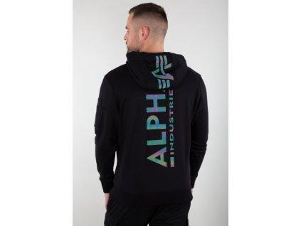 Alpha Industries Back Print Hoody Rainbow Reflective Print pánska mikina black