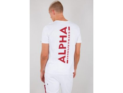 Alpha Industries BACKPRINT T tričko pánske white red