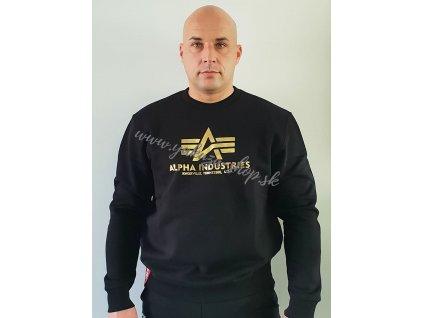 Alpha Industries Basic Sweater Foil Print black yellow gold