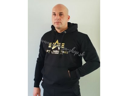 Alpha Industries Basic Hoody Foil Print pánska mikina black yellow gold