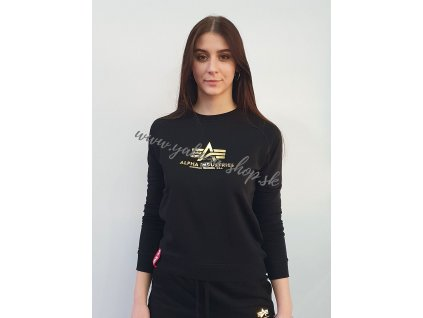 Alpha Industries dámska mikina New Basic Sweat Wmn Foil Print black yellow gold d