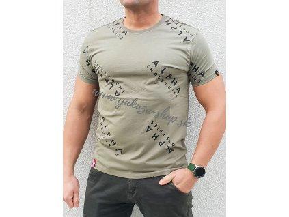 Alpha Industries AOP T olive tričko pánske