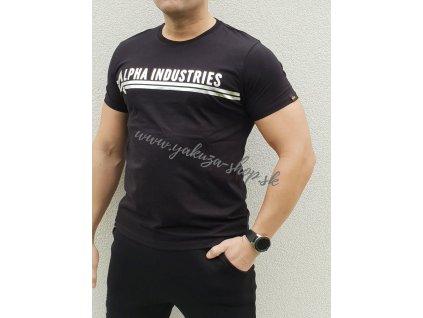 Alpha Industries ALPHA INDUSTRIES T FOIL PRINT Black Metal Silver tričko pánske