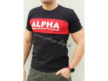 Alpha Industries Inlay T black red tričko pánske