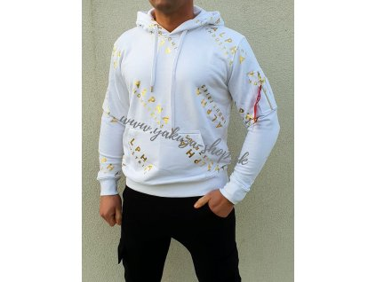 Alpha Industries AOP Hoody Foil print white yellow gold pánska mikina