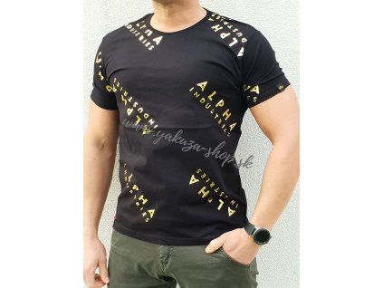 Alpha Industries AOP T Foil Print black yellow gold tričko pánske