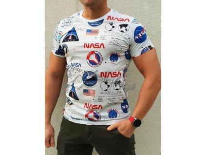 Alpha Industries NASA AOP T white tričko pánske