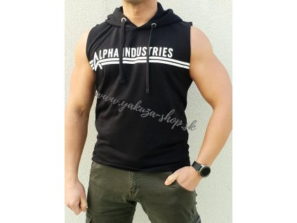Alpha Industries HOODED TANK tielko pánske s kapucňou black