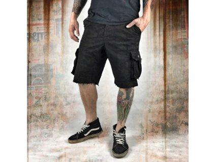 Yakuza cargo šortky ALLOVER CARGO CSB 10036 Black