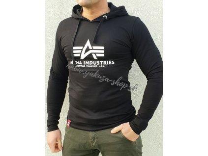 Alpha Industries Basic Hoode LS tričko s dlhým rukávom black