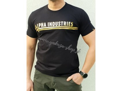 Alpha Industries ALPHA INDUSTRIES T FOIL PRINT Black Yellow Gold tričko pánske