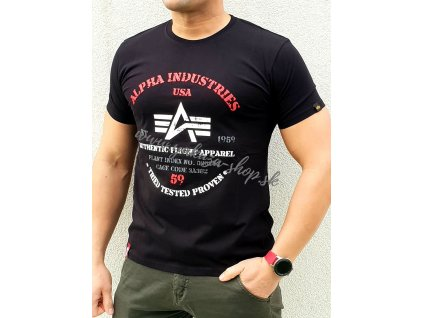 Alpha Industries AUTHENTIC PRINT T black tričko pánske