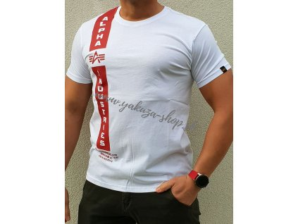 Alpha Industries DEFENCE T white red tričko pánske