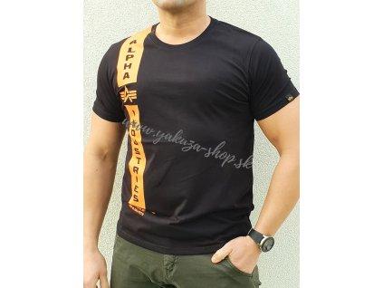 Alpha Industries DEFENCE T black orange tričko pánske