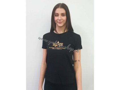 Alpha Industries New Basic T HOL.PRINT Wmn black gold crystal dámske tričko
