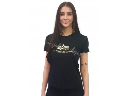 Alpha Industries New Basic T Wmn Foil Print black yellow gold