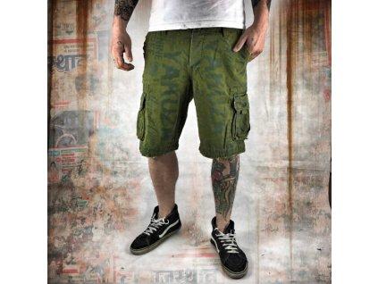 Yakuza cargo šortky ALLOVER CARGO CSB 10036 pesto
