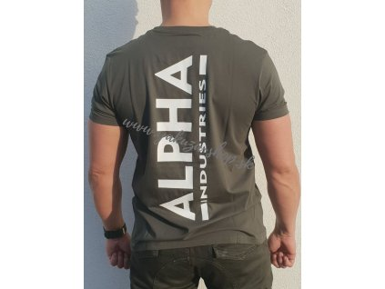 Alpha Industries BACKPRINT T dark olive tričko pánske