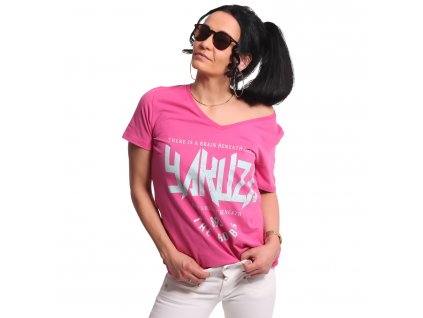 Yakuza dámske tričko BOOBS V Neck GSB 17133 fuchsia rose