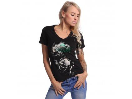 Yakuza dámske tričko BUBBLE SKULL V Neck GSB 17134 black