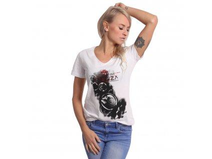 Yakuza dámske tričko BUBBLE SKULL V Neck GSB 17134 white