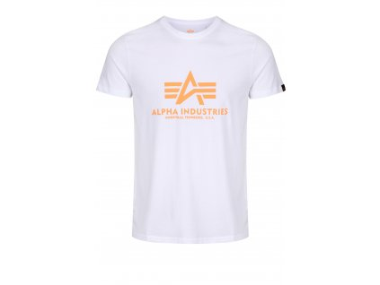 Alpha Industries Basic T Shirt White Neon Orange tričko pánske