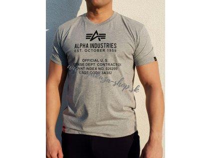 Alpha Industries ALPHA FUNDAMENTAL T tričko pánske grey heather b