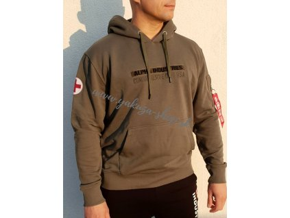 Alpha Industries RESCUE HOODY pánska mikina dark olive