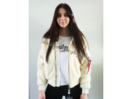 Alpha Industries MA 1 OS HOODED TEDDY Wmn dámska bunda off white