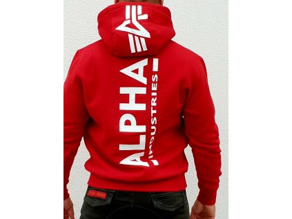 Alpha Industries Back Print Hoody pánska mikina speed red