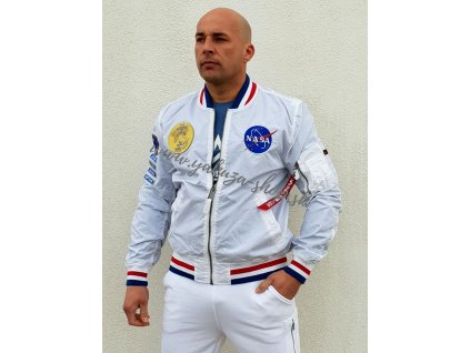 Alpha Industries obojstranná bunda pánska MA 1 NASA VOYAGER REVERSIBLE white