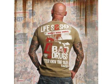 Yakuza tričko pánske KNOW YOUR DEALER TSB 10014 Covert Green