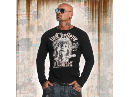 Yakuza tričko s dlhým rukávom pánske JUST BELIEVE LSB 10033 black