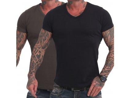 Yakuza Basic Line FMP V tričko pánske TSB 17075 black olive 2 ks v balení
