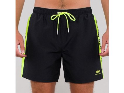 Alpha Industries plavkové šortky PRINTED STRIPE SWIM SHORT black