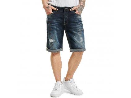 Yakuza jeansové šortky CRUSADER DENIM JSB 18071 dark blue vintage destroyed b