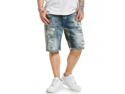 Yakuza jeansové šortky CRUSADER DENIM JSB 18071 mid blue vintage destroyed