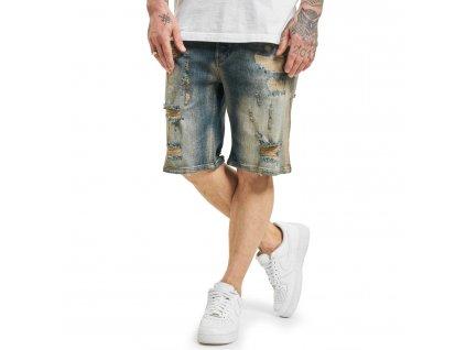 Yakuza jeansové šortky WRECKIN DENIM JSB 18072 mid blue vintage destroyed